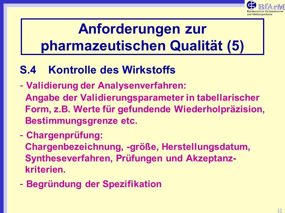 Bundesinstitut für Arzneimittel und Medizinprodukte 12 Anforderungen zur pharmazeutischen Qualität (5) S.4Kontrolle des Wirkstoffs - Validierung der A