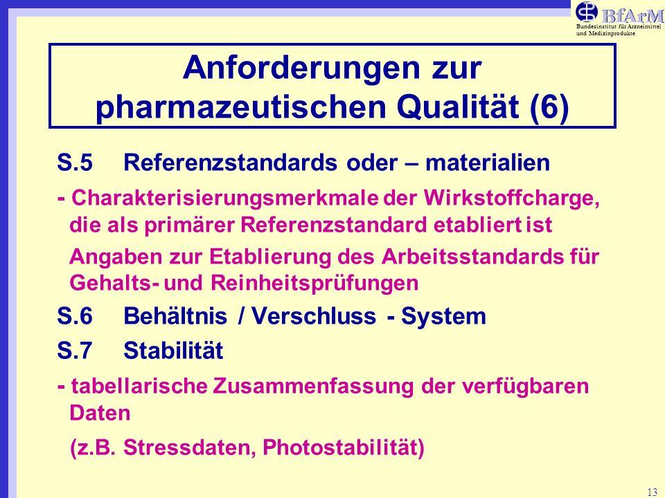 Bundesinstitut für Arzneimittel und Medizinprodukte 13 Anforderungen zur pharmazeutischen Qualität (6) S.5Referenzstandards oder – materialien - Chara