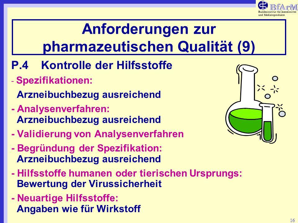 Bundesinstitut für Arzneimittel und Medizinprodukte 16 Anforderungen zur pharmazeutischen Qualität (9) P.4Kontrolle der Hilfsstoffe - Spezifikationen: