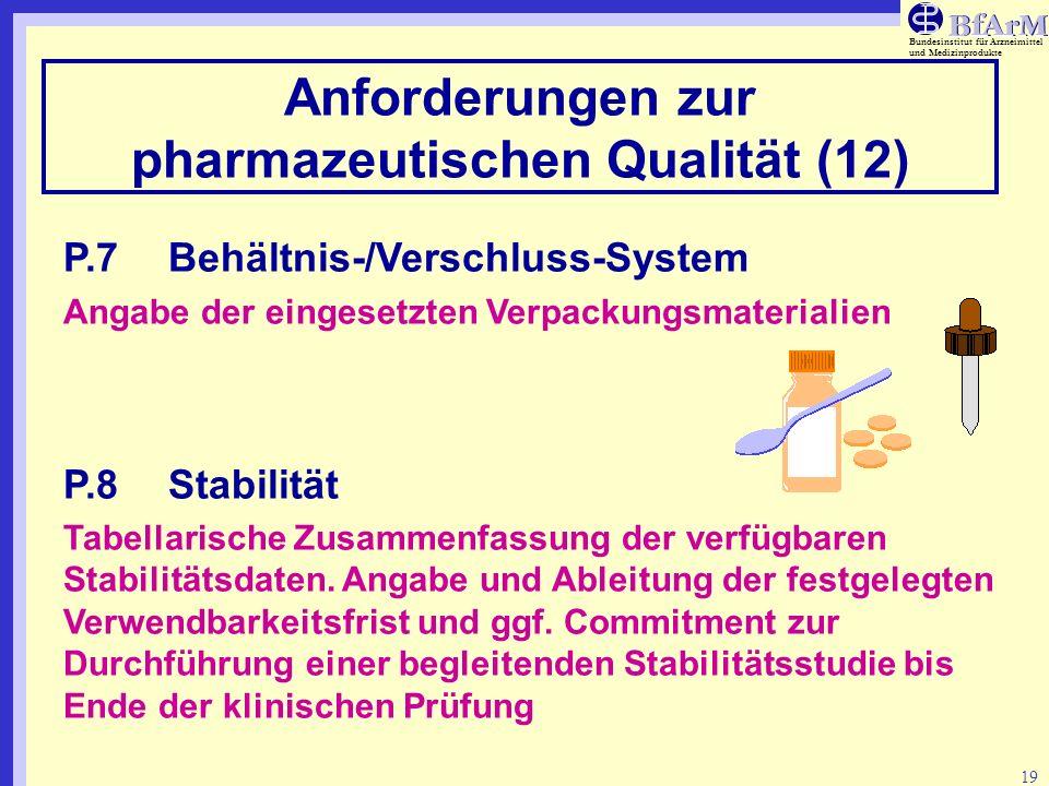 Bundesinstitut für Arzneimittel und Medizinprodukte 19 Anforderungen zur pharmazeutischen Qualität (12) P.7Behältnis-/Verschluss-System Angabe der ein