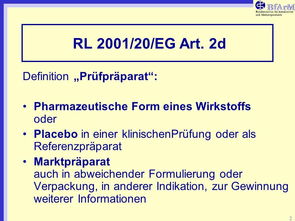 Bundesinstitut für Arzneimittel und Medizinprodukte 2 RL 2001/20/EG Art. 2d Definition Prüfpräparat: Pharmazeutische Form eines Wirkstoffs oder Placeb