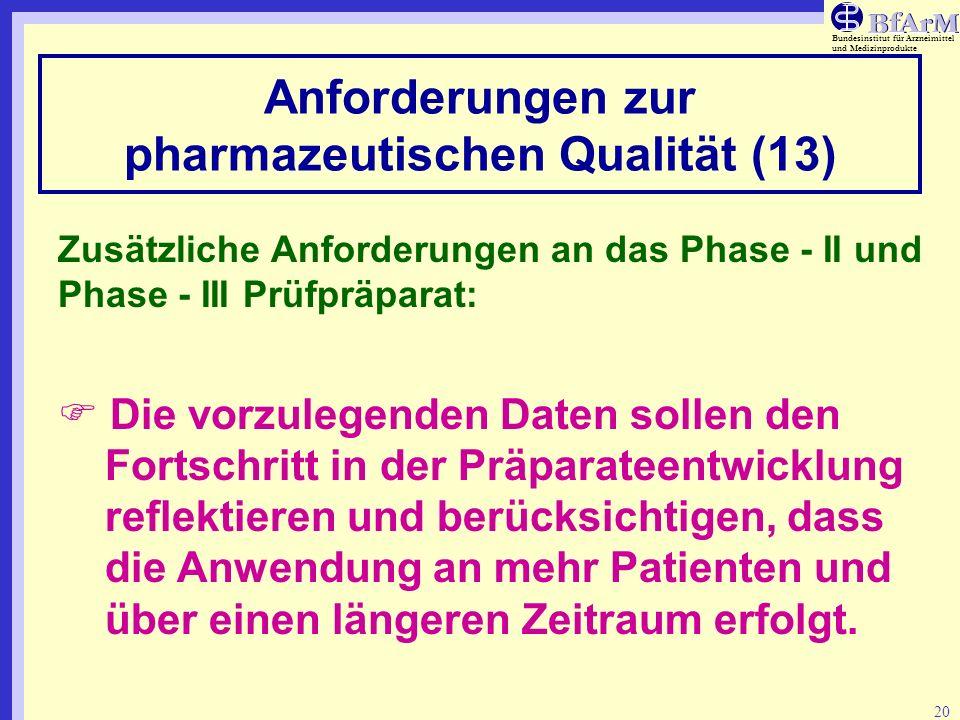 Bundesinstitut für Arzneimittel und Medizinprodukte 20 Anforderungen zur pharmazeutischen Qualität (13) Zusätzliche Anforderungen an das Phase - II un