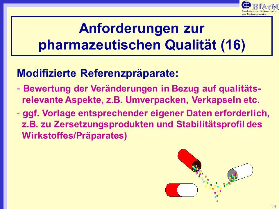 Bundesinstitut für Arzneimittel und Medizinprodukte 23 Anforderungen zur pharmazeutischen Qualität (16) Modifizierte Referenzpräparate: - Bewertung de