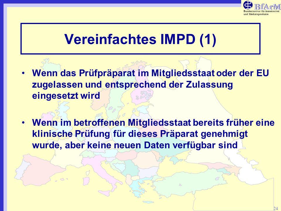 Bundesinstitut für Arzneimittel und Medizinprodukte 24 Vereinfachtes IMPD (1) Wenn das Prüfpräparat im Mitgliedsstaat oder der EU zugelassen und entsp
