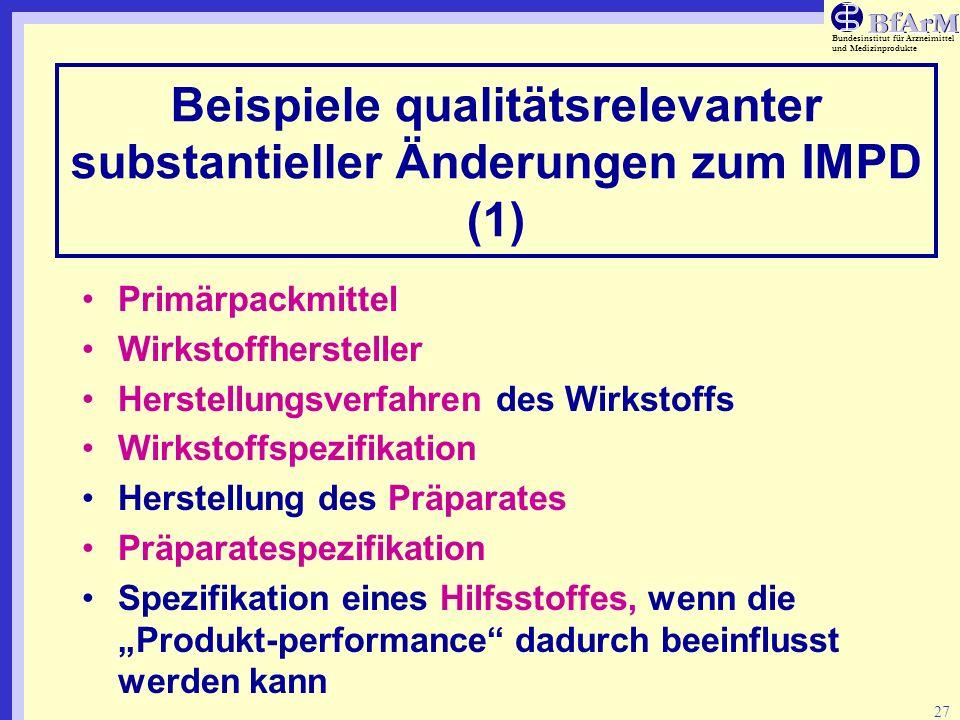 Bundesinstitut für Arzneimittel und Medizinprodukte 27 Beispiele qualitätsrelevanter substantieller Änderungen zum IMPD (1) Primärpackmittel Wirkstoff