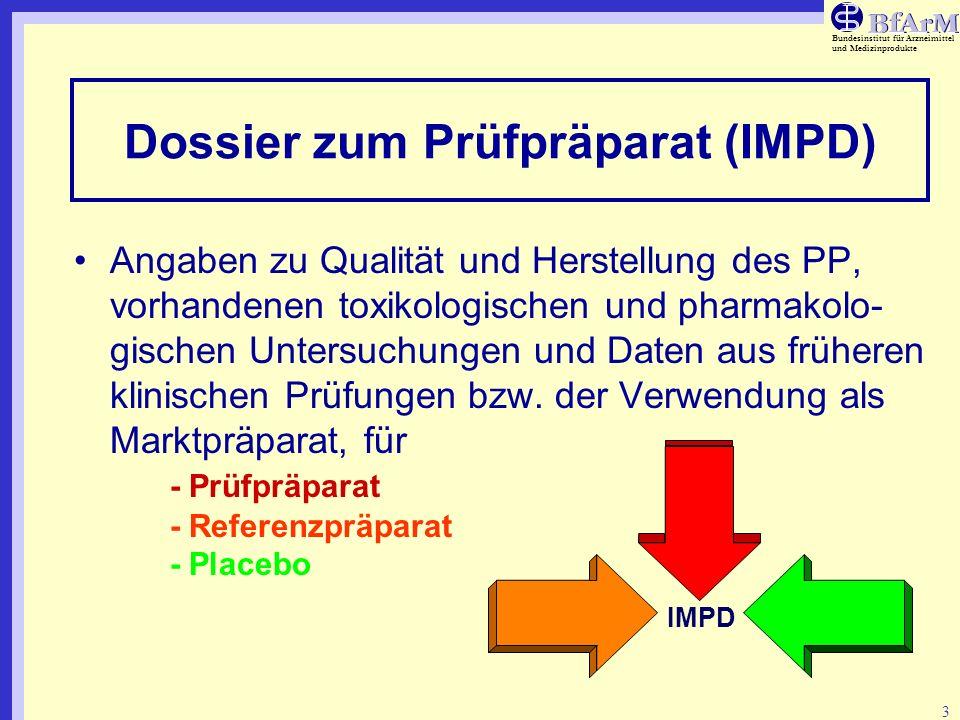 Bundesinstitut für Arzneimittel und Medizinprodukte 4 Dossier zum Prüfpräparat (IMPD) - Aufbau Einleitung - detailliertes Inhaltsverzeichnis - covering letter mit Hinweisen zu speziellen Eigenschaften Zusammenfassungen von - pharmazeutischen - prä-klinischen - klinischen Daten