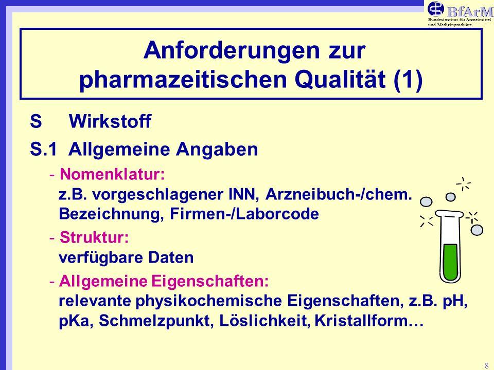 Bundesinstitut für Arzneimittel und Medizinprodukte 19 Anforderungen zur pharmazeutischen Qualität (12) P.7Behältnis-/Verschluss-System Angabe der eingesetzten Verpackungsmaterialien P.8 Stabilität Tabellarische Zusammenfassung der verfügbaren Stabilitätsdaten.