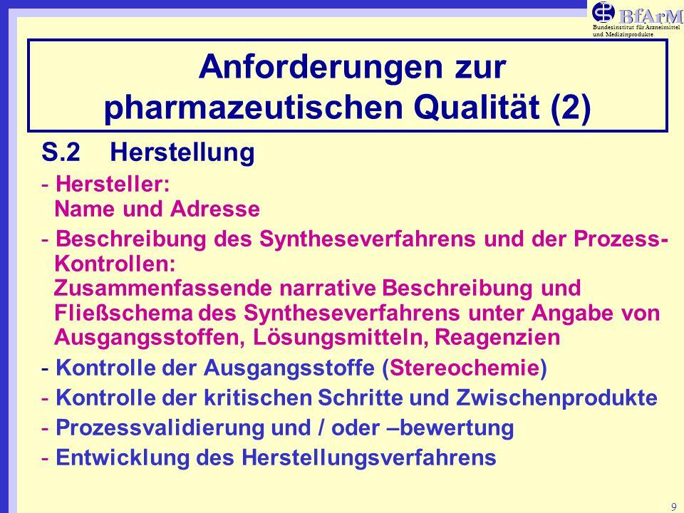 Bundesinstitut für Arzneimittel und Medizinprodukte 10 Anforderungen zur pharmazeutischen Qualität (3) S.3Charakterisierung - Strukturaufklärung und andere Charakteristika: Kurze Beschreibung der verwendeten Strukturaufklärungsmethoden (z.B.