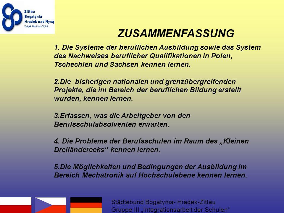 1. Die Systeme der beruflichen Ausbildung sowie das System des Nachweises beruflicher Qualifikationen in Polen, Tschechien und Sachsen kennen lernen.