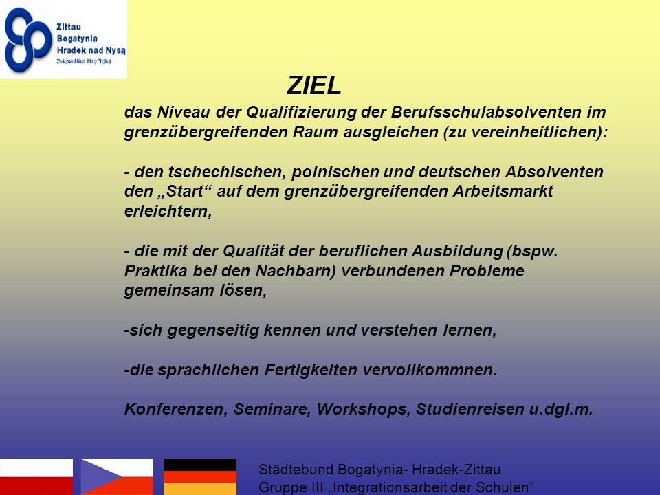 das Niveau der Qualifizierung der Berufsschulabsolventen im grenzübergreifenden Raum ausgleichen (zu vereinheitlichen): - den tschechischen, polnischen und deutschen Absolventen den Start auf dem grenzübergreifenden Arbeitsmarkt erleichtern, - die mit der Qualität der beruflichen Ausbildung (bspw.