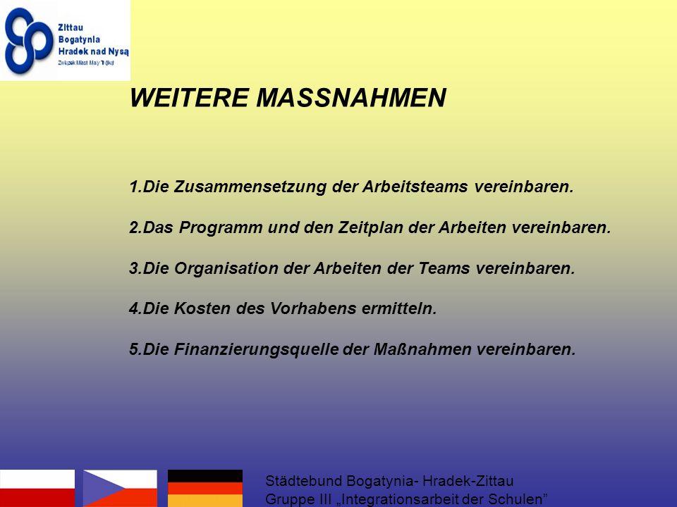 WEITERE MASSNAHMEN 1.Die Zusammensetzung der Arbeitsteams vereinbaren.