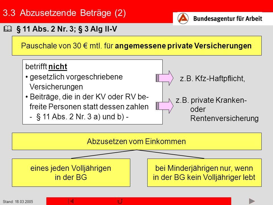 Stand: 18.03.2005 3.3 Abzusetzende Beträge (2) § 11 Abs. 2 Nr. 3; § 3 Alg II-V Pauschale von 30 mtl. für angemessene private Versicherungen betrifft n