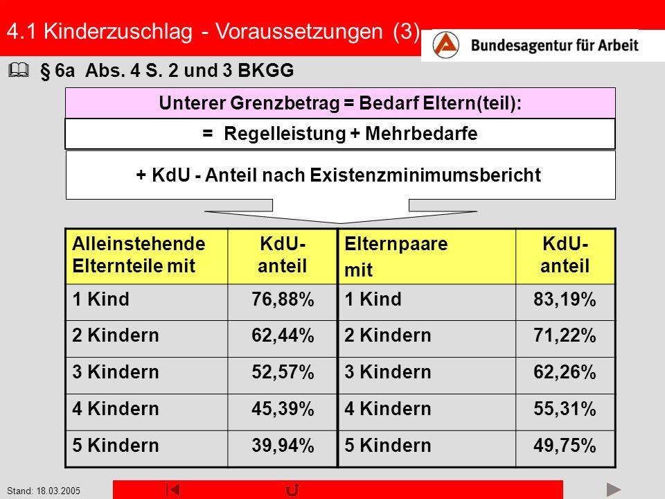 Stand: 18.03.2005 § 6a Abs. 4 S. 2 und 3 BKGG + KdU - Anteil nach Existenzminimumsbericht Unterer Grenzbetrag = Bedarf Eltern(teil): = Regelleistung +