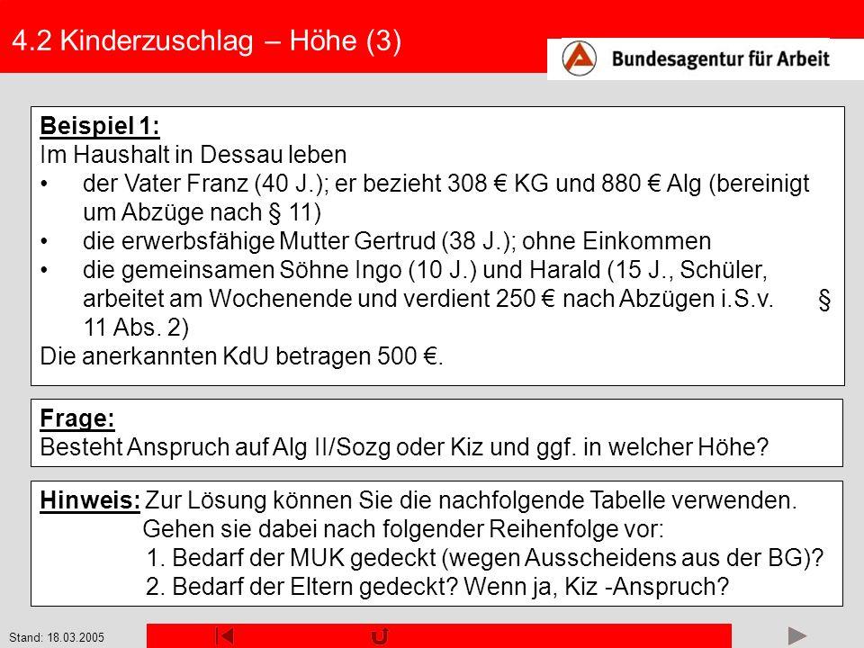 Stand: 18.03.2005 4.2 Kinderzuschlag – Höhe (3) Beispiel 1: Im Haushalt in Dessau leben der Vater Franz (40 J.); er bezieht 308 KG und 880 Alg (berein