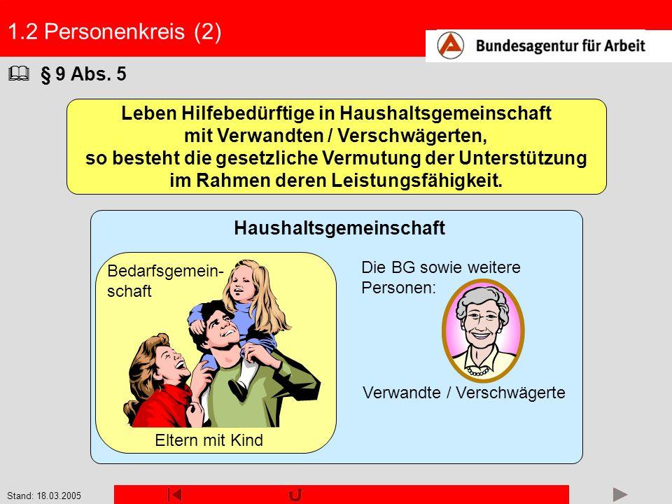 Stand: 18.03.2005 1.2 Personenkreis (2) § 9 Abs. 5 Leben Hilfebedürftige in Haushaltsgemeinschaft mit Verwandten / Verschwägerten, so besteht die gese