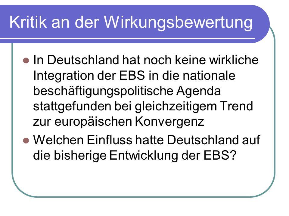 Kritik an der Wirkungsbewertung In Deutschland hat noch keine wirkliche Integration der EBS in die nationale beschäftigungspolitische Agenda stattgefu