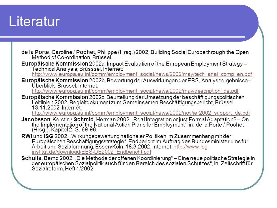 Literatur de la Porte, Caroline / Pochet, Philippe (Hrsg.) 2002, Building Social Europe through the Open Method of Co-ordination, Brüssel. Europäische