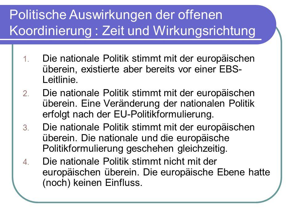 Kritik an der Wirkungsbewertung In Deutschland hat noch keine wirkliche Integration der EBS in die nationale beschäftigungspolitische Agenda stattgefunden bei gleichzeitigem Trend zur europäischen Konvergenz Welchen Einfluss hatte Deutschland auf die bisherige Entwicklung der EBS?