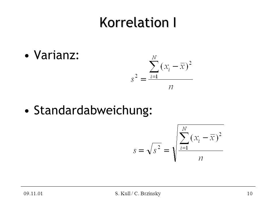 09.11.01S. Kull / C. Brzinsky10 Korrelation I Varianz: Standardabweichung: