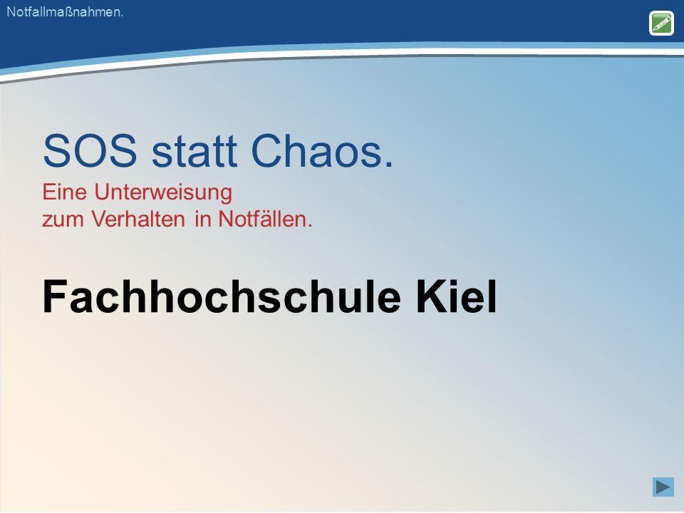 SOS statt Chaos. Eine Unterweisung zum Verhalten in Notfällen.