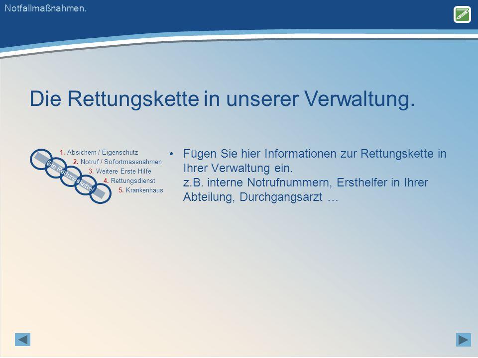 Die Rettungskette in unserer Verwaltung. 2. Notruf / Sofortmassnahmen 3.