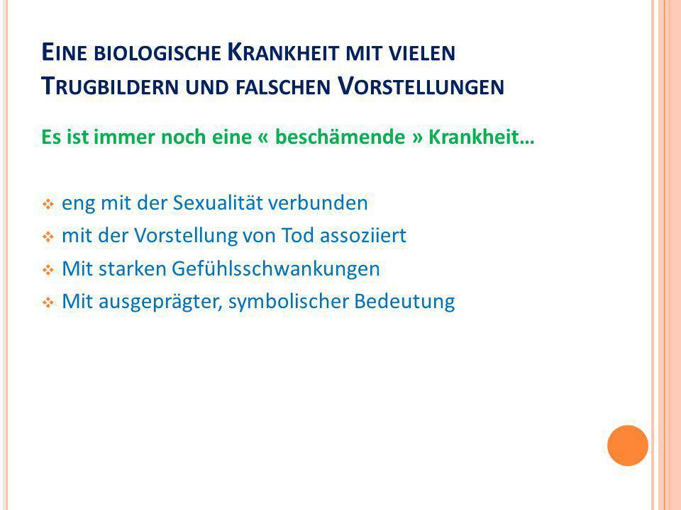 E INE BIOLOGISCHE K RANKHEIT MIT VIELEN T RUGBILDERN UND FALSCHEN V ORSTELLUNGEN Es ist immer noch eine « beschämende » Krankheit… eng mit der Sexuali