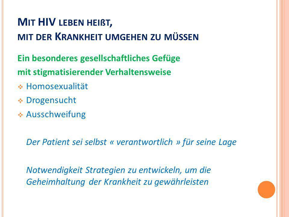 M IT HIV LEBEN HEIßT, MIT DER K RANKHEIT UMGEHEN ZU MÜSSEN Ein besonderes gesellschaftliches Gefüge mit stigmatisierender Verhaltensweise Homosexualit