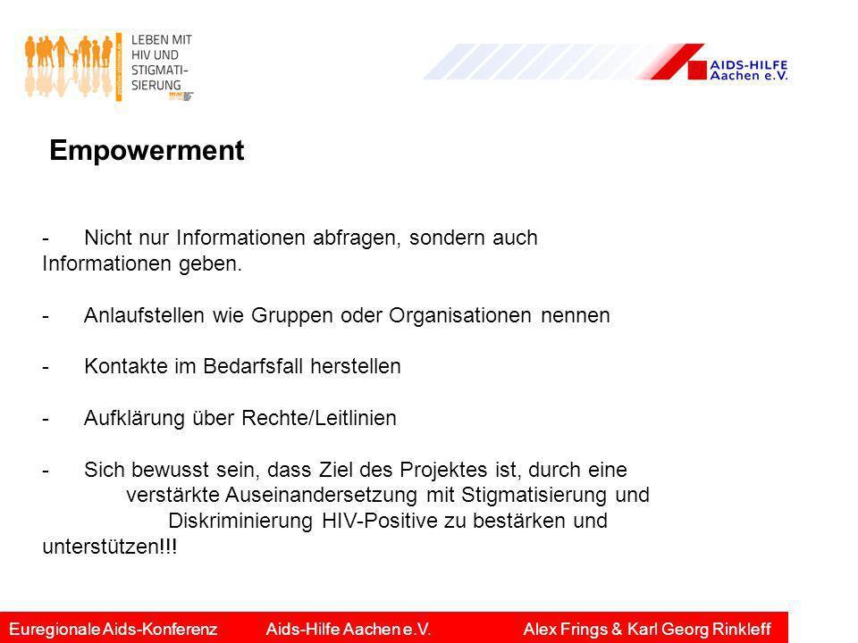 Empowerment -Nicht nur Informationen abfragen, sondern auch Informationen geben. -Anlaufstellen wie Gruppen oder Organisationen nennen -Kontakte im Be
