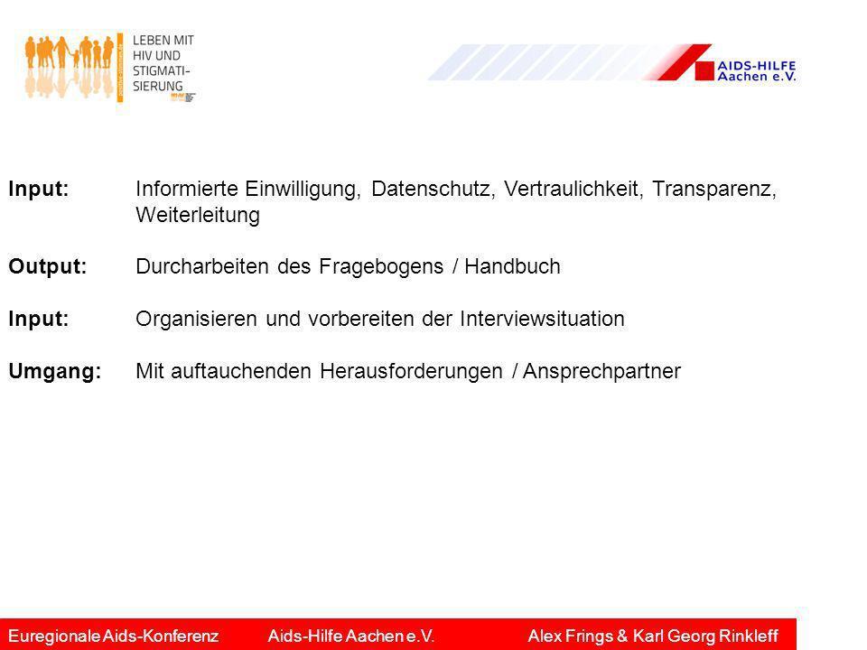 Input: Informierte Einwilligung, Datenschutz, Vertraulichkeit, Transparenz, Weiterleitung Output: Durcharbeiten des Fragebogens / Handbuch Input:Organ