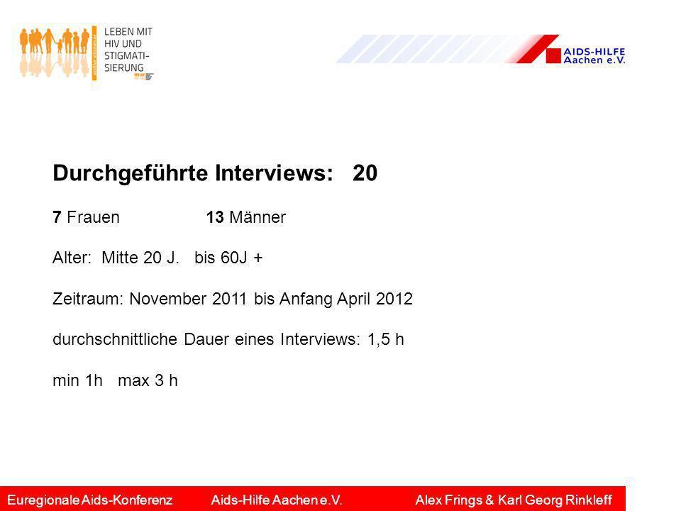 Durchgeführte Interviews: 20 7 Frauen 13 Männer Alter: Mitte 20 J. bis 60J + Zeitraum: November 2011 bis Anfang April 2012 durchschnittliche Dauer ein