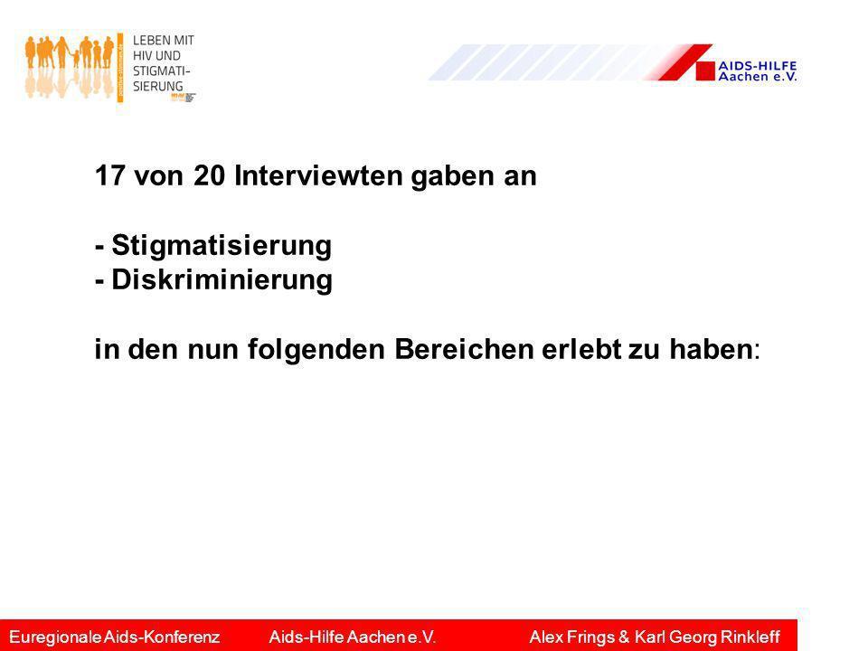 17 von 20 Interviewten gaben an - Stigmatisierung - Diskriminierung in den nun folgenden Bereichen erlebt zu haben: Euregionale Aids-KonferenzAids-Hil