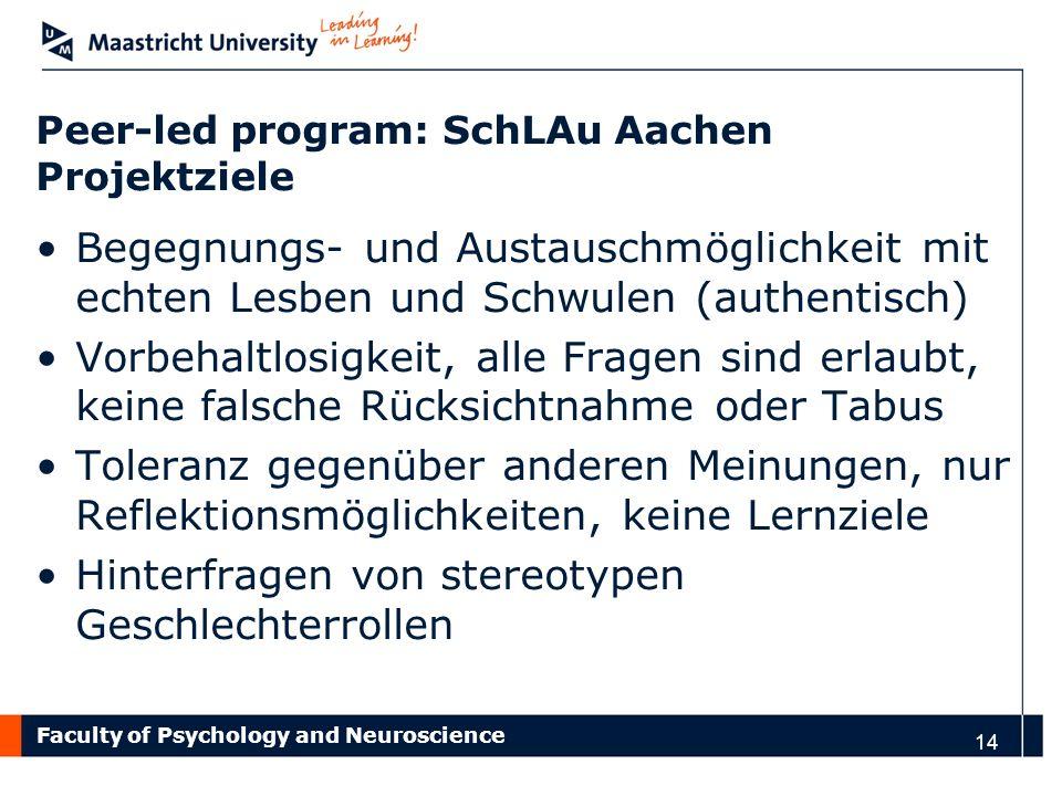 Faculty of Psychology and Neuroscience Peer-led program: SchLAu Aachen Projektziele Begegnungs- und Austauschmöglichkeit mit echten Lesben und Schwule