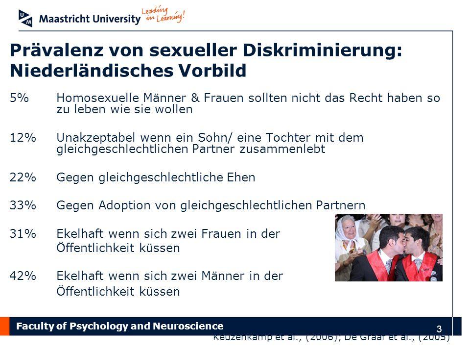 Faculty of Psychology and Neuroscience 4 Erfahrene Diskriminierung Im Allgemeinen fühlen sich Homosexuelle weniger sicher als Heterosexuelle Negative Erfahrungen auf der Arbeit oder in der Schule Verbal (Gerüchte, mobbing) und körperlich (Abweisung, Gewalt) Direkt & indirekt Herek, 2009; Espelage et al., 2008