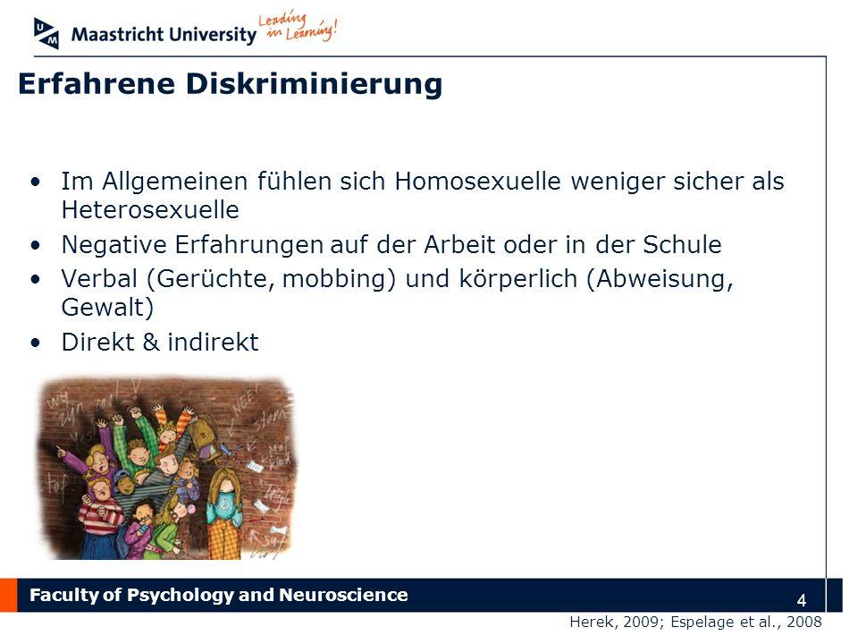 Faculty of Psychology and Neuroscience 4 Erfahrene Diskriminierung Im Allgemeinen fühlen sich Homosexuelle weniger sicher als Heterosexuelle Negative