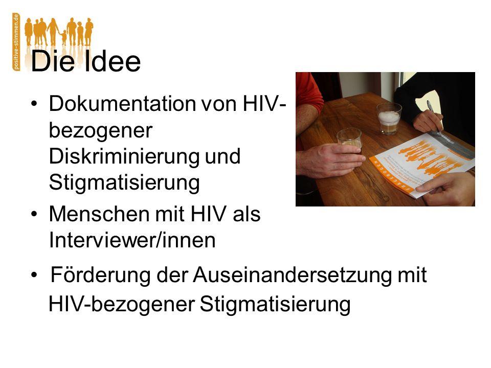 Die Idee Dokumentation von HIV- bezogener Diskriminierung und Stigmatisierung Menschen mit HIV als Interviewer/innen Förderung der Auseinandersetzung