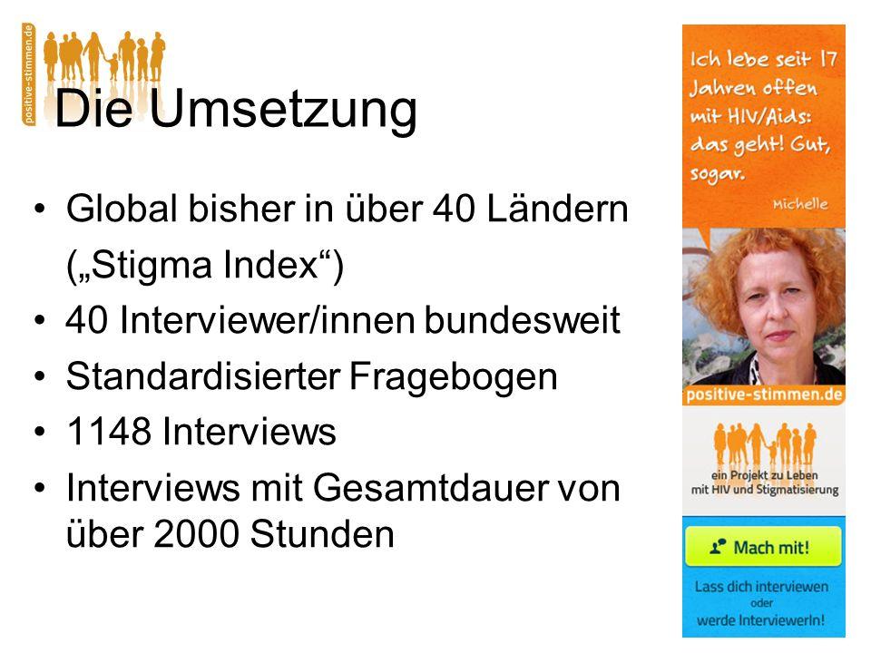 Die Umsetzung Global bisher in über 40 Ländern (Stigma Index) 40 Interviewer/innen bundesweit Standardisierter Fragebogen 1148 Interviews Interviews mit Gesamtdauer von über 2000 Stunden