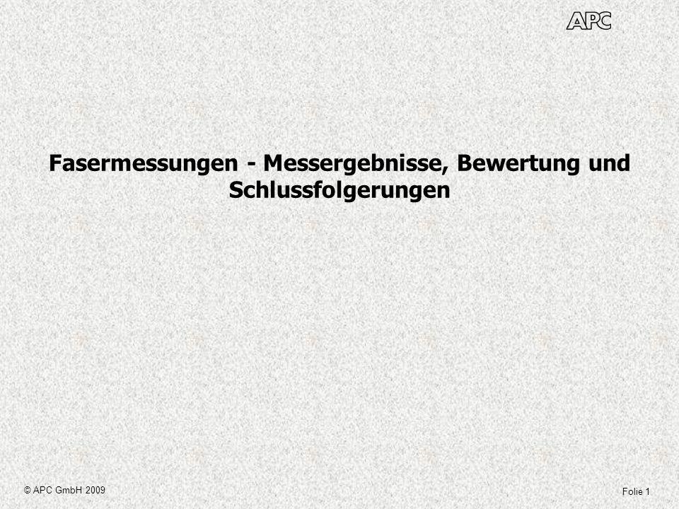 Folie 1 © APC GmbH 2009 Fasermessungen - Messergebnisse, Bewertung und Schlussfolgerungen