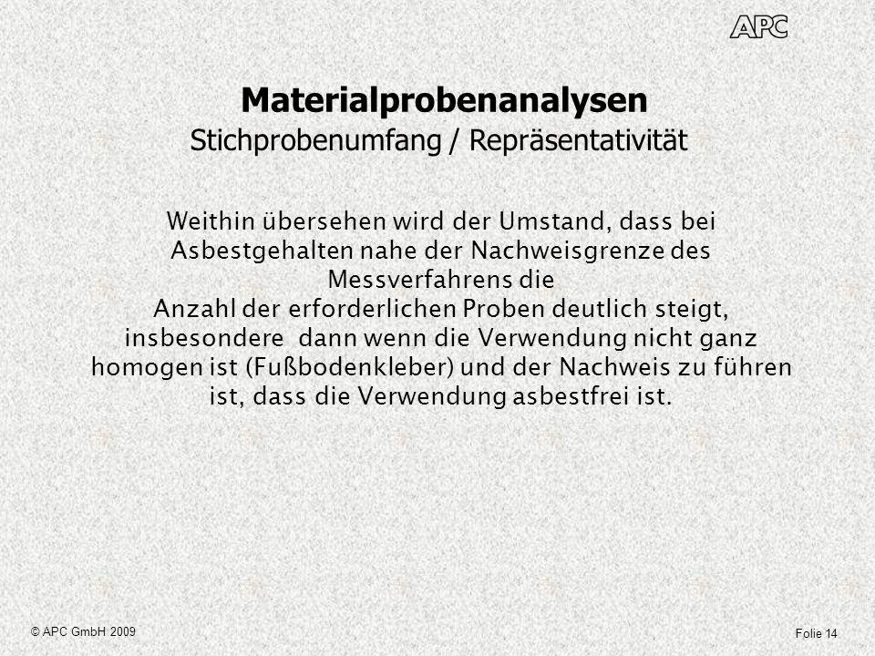 Folie 14 © APC GmbH 2009 Materialprobenanalysen Stichprobenumfang / Repräsentativität Weithin übersehen wird der Umstand, dass bei Asbestgehalten nahe