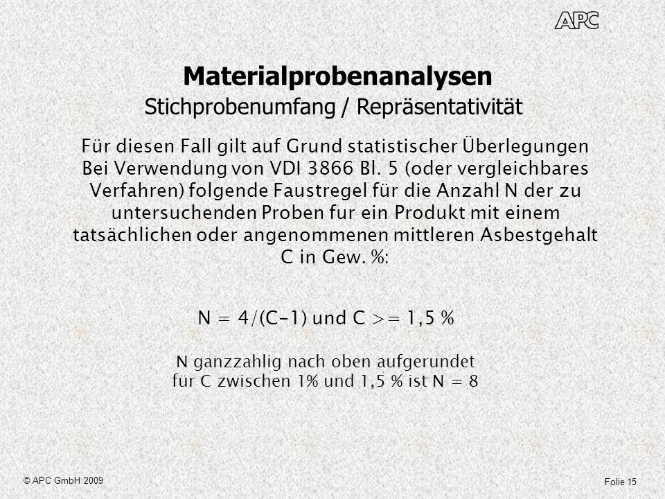 Folie 15 © APC GmbH 2009 Materialprobenanalysen Stichprobenumfang / Repräsentativität Für diesen Fall gilt auf Grund statistischer Überlegungen Bei Ve