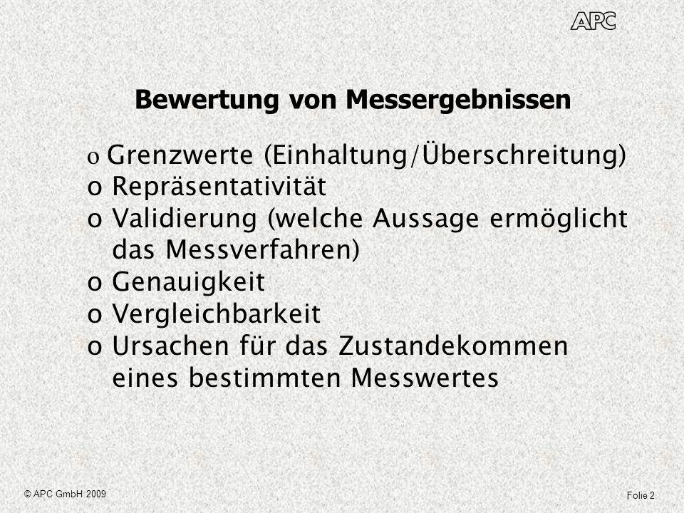 Folie 2 © APC GmbH 2009 Bewertung von Messergebnissen o Grenzwerte (Einhaltung/Überschreitung) o Repräsentativität o Validierung (welche Aussage ermög
