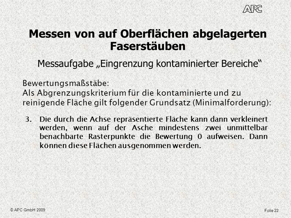 Folie 22 © APC GmbH 2009 Messen von auf Oberflächen abgelagerten Faserstäuben Messaufgabe Eingrenzung kontaminierter Bereiche Bewertungsmaßstäbe: Als