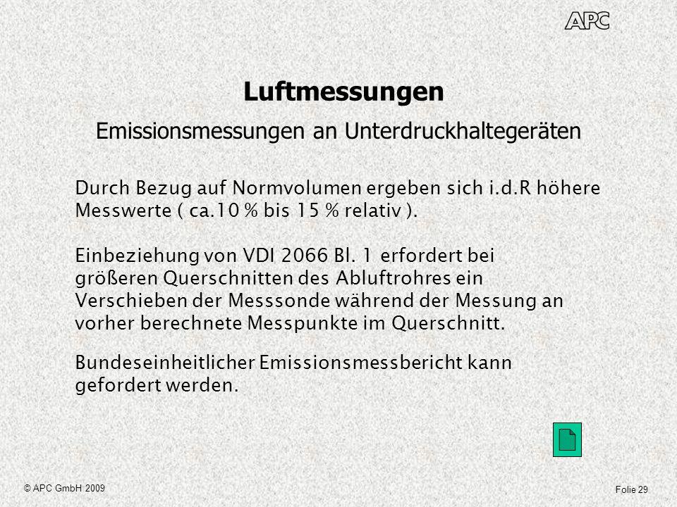 Folie 29 © APC GmbH 2009 Luftmessungen Emissionsmessungen an Unterdruckhaltegeräten Durch Bezug auf Normvolumen ergeben sich i.d.R höhere Messwerte (