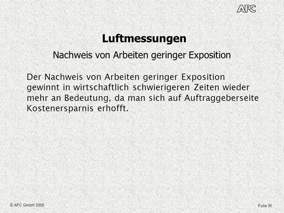 Folie 30 © APC GmbH 2009 Luftmessungen Nachweis von Arbeiten geringer Exposition Der Nachweis von Arbeiten geringer Exposition gewinnt in wirtschaftli