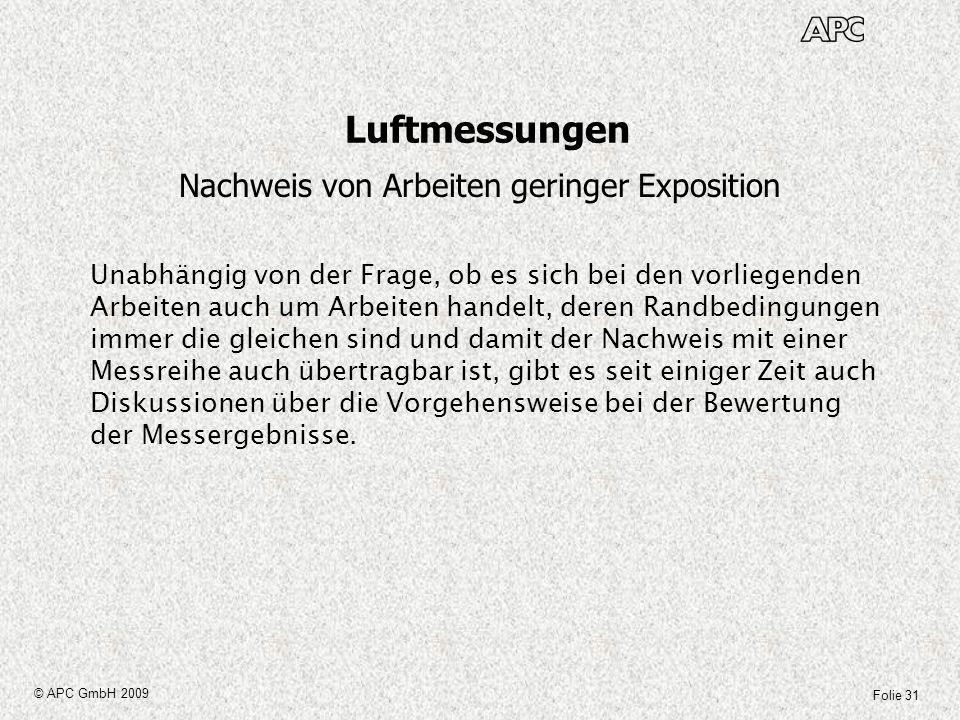 Folie 31 © APC GmbH 2009 Luftmessungen Nachweis von Arbeiten geringer Exposition Unabhängig von der Frage, ob es sich bei den vorliegenden Arbeiten au