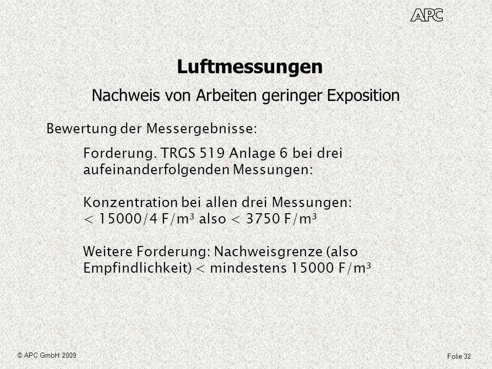 Folie 32 © APC GmbH 2009 Luftmessungen Nachweis von Arbeiten geringer Exposition Bewertung der Messergebnisse: Forderung. TRGS 519 Anlage 6 bei drei a