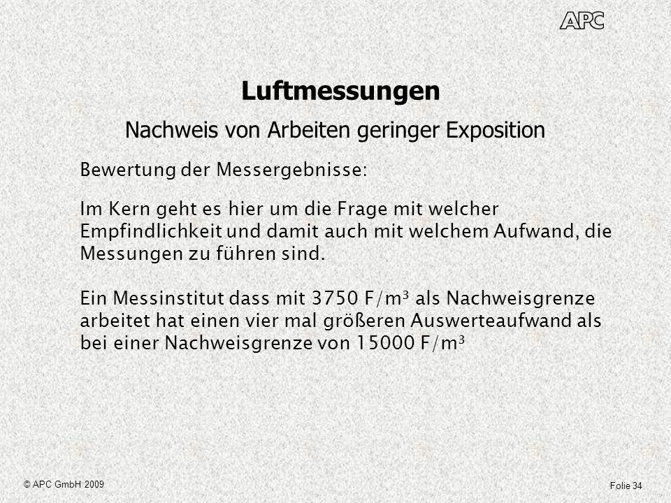 Folie 34 © APC GmbH 2009 Luftmessungen Nachweis von Arbeiten geringer Exposition Bewertung der Messergebnisse: Im Kern geht es hier um die Frage mit w