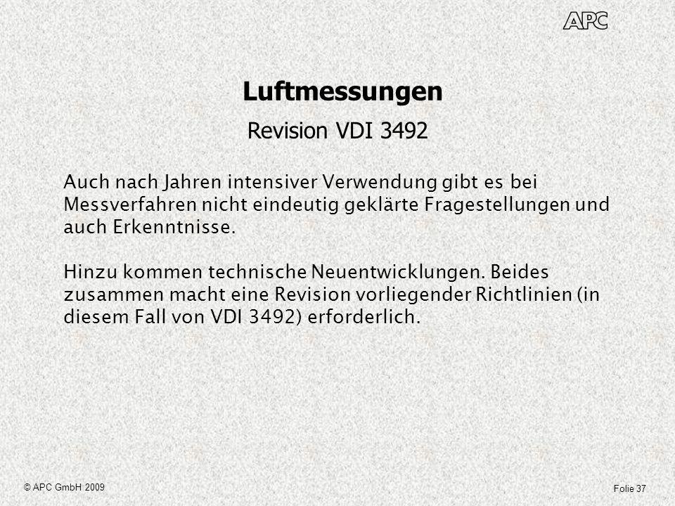 Folie 37 © APC GmbH 2009 Luftmessungen Revision VDI 3492 Auch nach Jahren intensiver Verwendung gibt es bei Messverfahren nicht eindeutig geklärte Fra