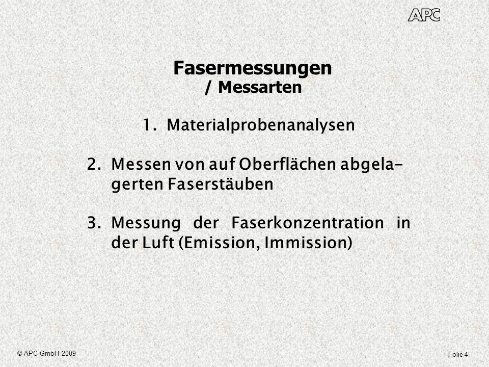Folie 4 © APC GmbH 2009 1.Materialprobenanalysen 2.Messen von auf Oberflächen abgela- gerten Faserstäuben 3.Messung der Faserkonzentration in der Luft