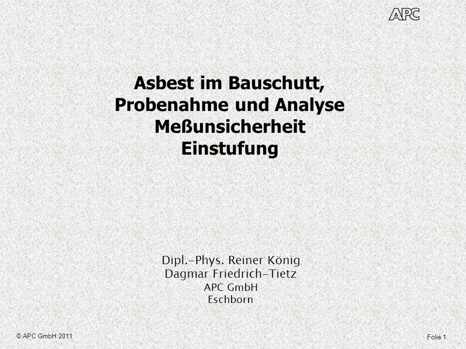 Folie 22 © APC GmbH 2011 Asbest im Bauschutt Meßunsicherheit Die Meßunsicherheit bei der Probenahme wird im Wesentlichen bestimmt durch folgende Einflussfaktoren: Heterogenität des Haufwerkes Stichprobengröße (Anzahl und Lage der Einzelproben) Stückigkeit (Größenverteilung der Beimischung und des Grundmaterials) Ggf.