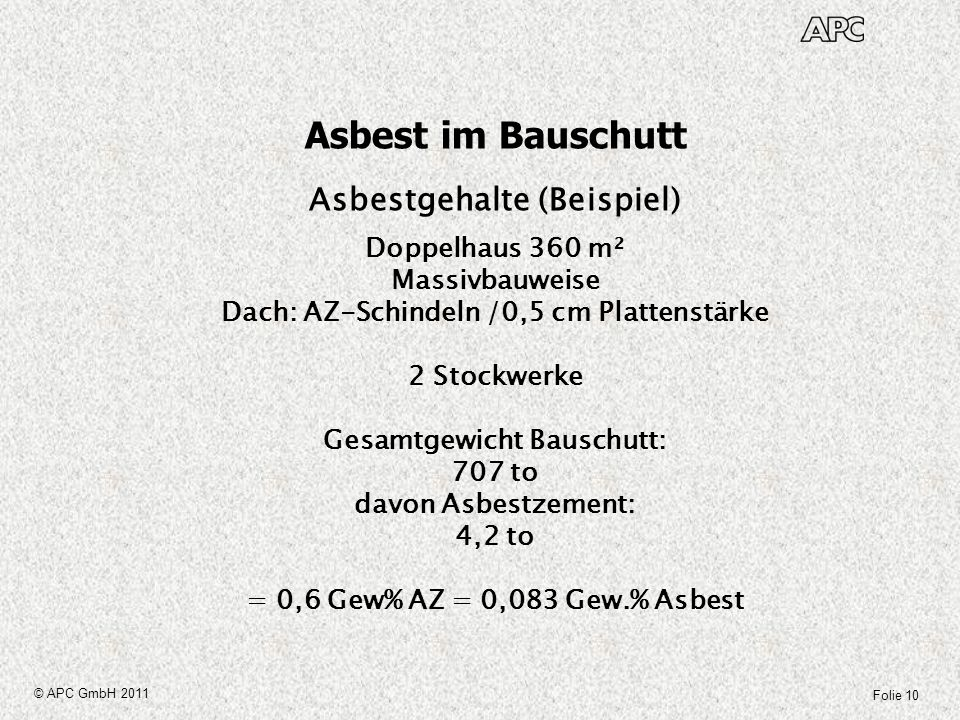 Folie 10 © APC GmbH 2011 Asbest im Bauschutt Asbestgehalte (Beispiel) Doppelhaus 360 m² Massivbauweise Dach: AZ-Schindeln /0,5 cm Plattenstärke 2 Stoc